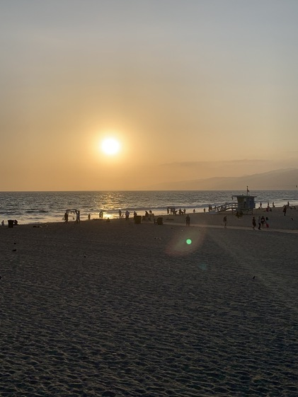sunset over the beach in Santa Monica