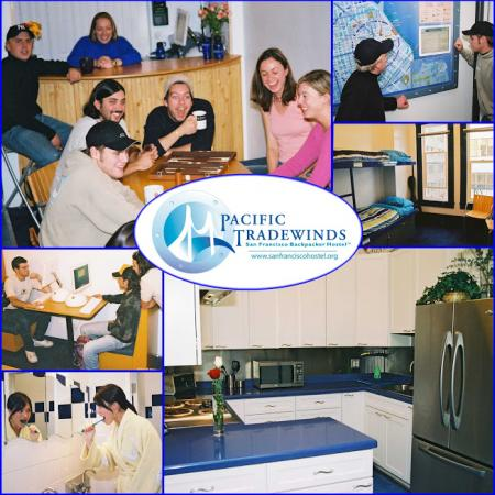 Images from Pacific Tradewinds hostel of friends and some of the rooms with the logo in the center.